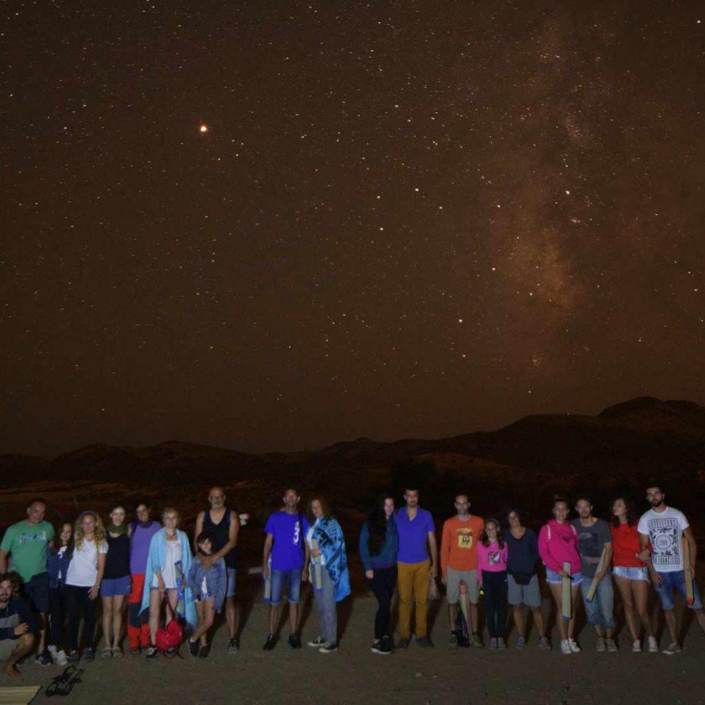 Grupo despues de realizar senderismo nocturno
